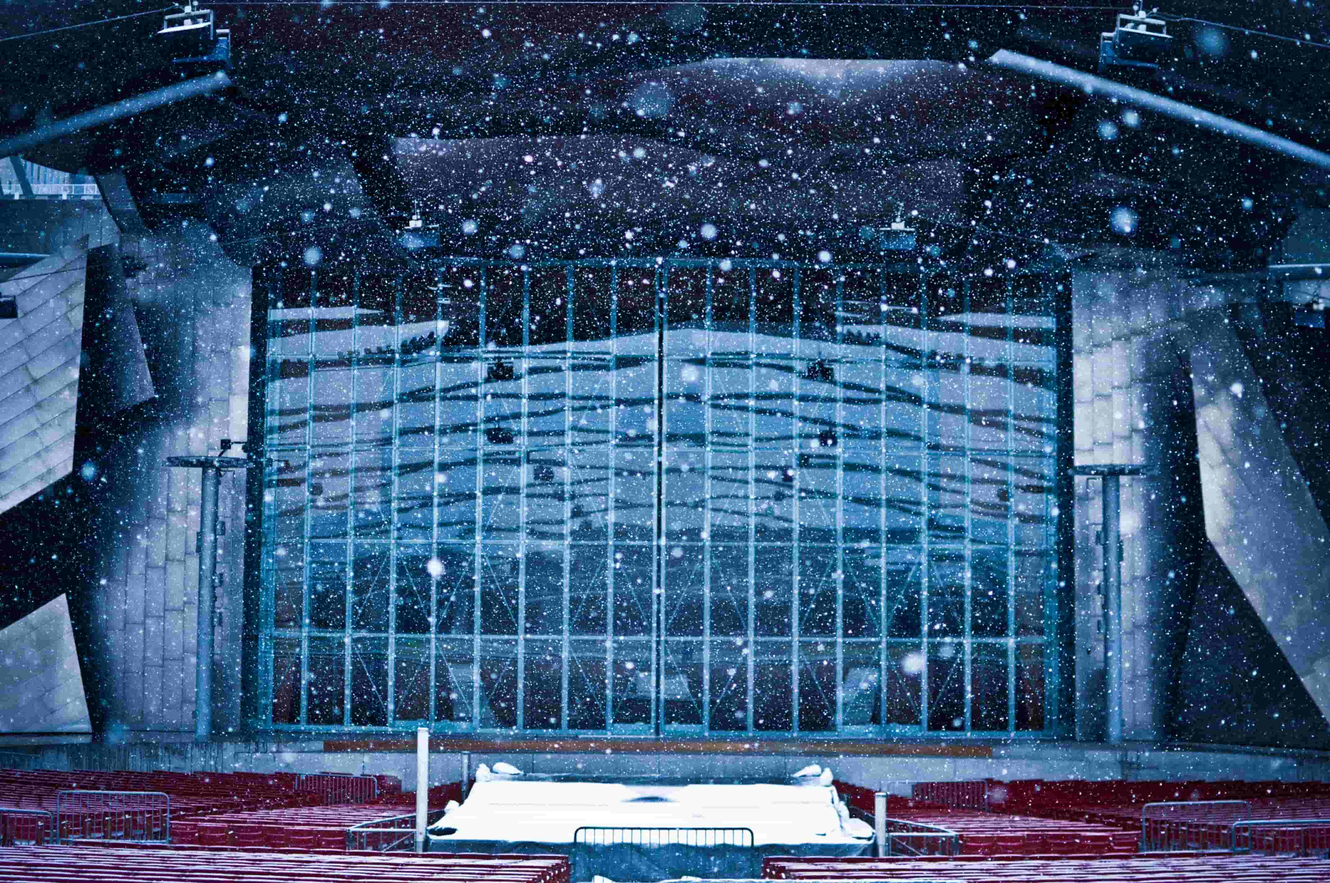 The stage of Jay Pritzker Pavilion in Chicago's Millennium Park in winter