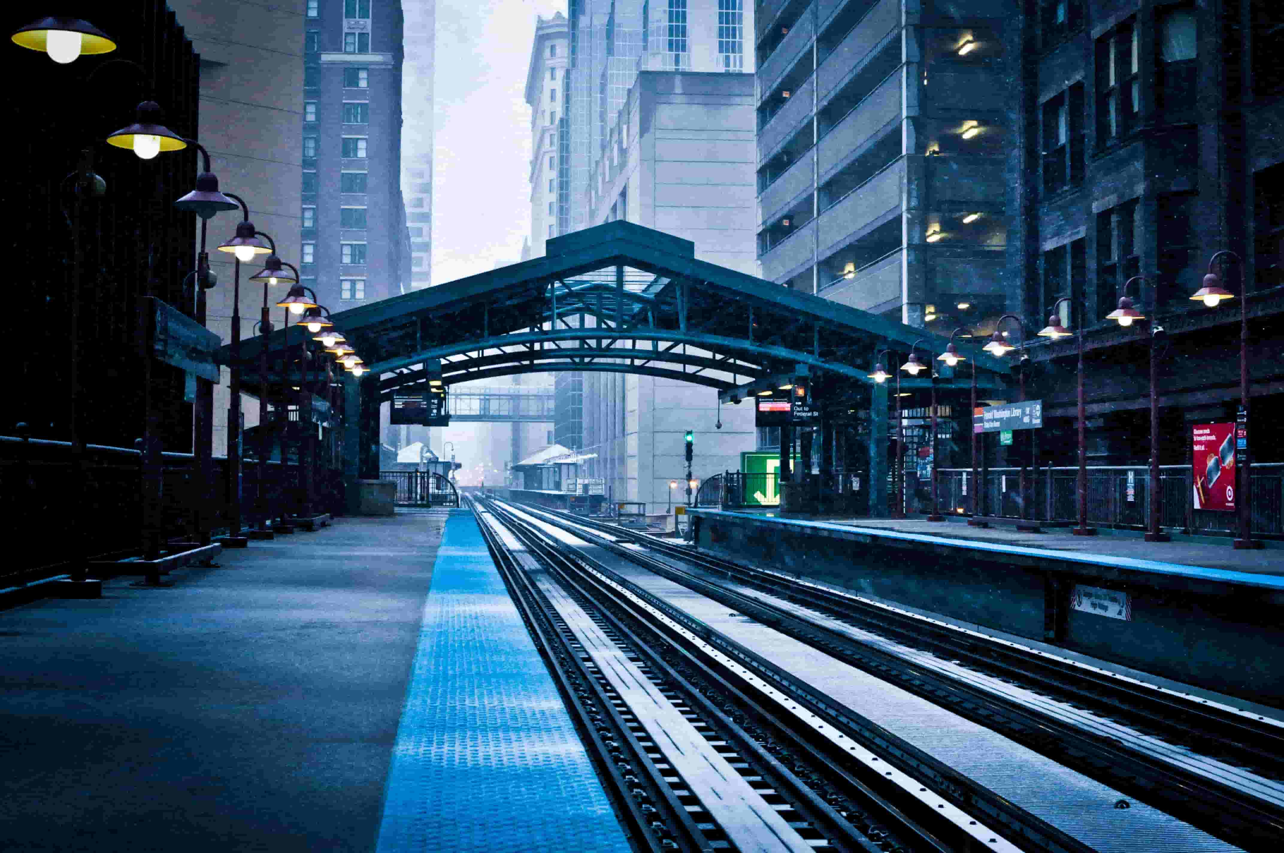 Elevated train station in Chicago in winter